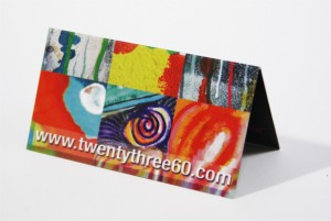 Folded business card in bright colours