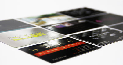 Laminated black and white business cards