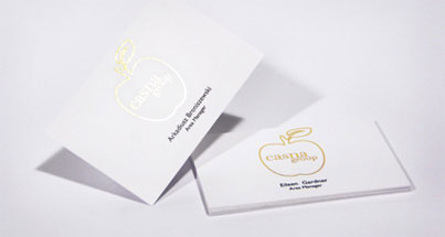 A set of 250 business cards printed with gold foil