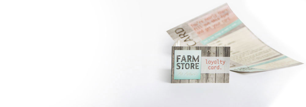 Folded loyalty card for farm shop