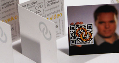 Folded QR code business cards