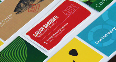 Plastic business cards in 5 different designs